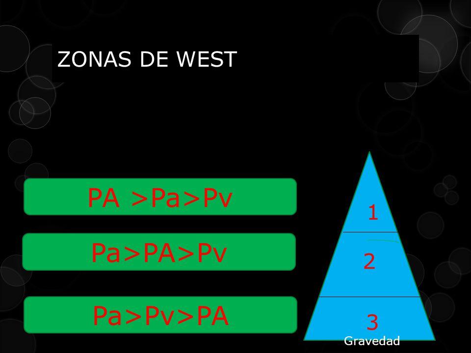 PA >Pa>Pv Pa>PA>Pv Pa>Pv>PA ZONAS DE WEST 1 2 3