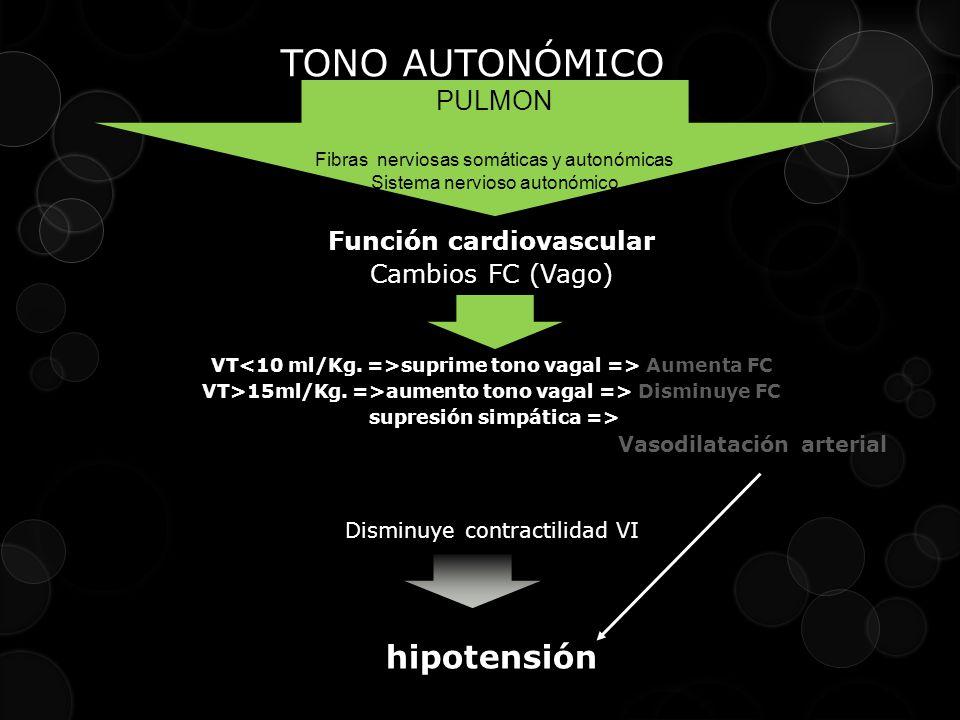 TONO AUTONÓMICO hipotensión PULMON Función cardiovascular