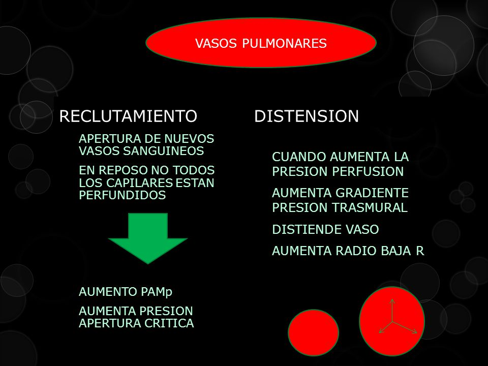 RECLUTAMIENTO DISTENSION VASOS PULMONARES