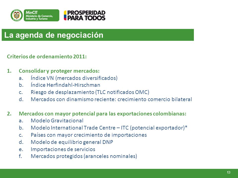 La agenda de negociación