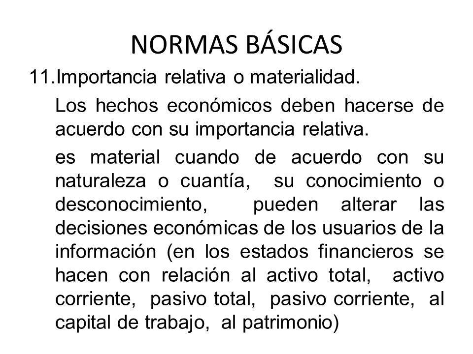 NORMAS BÁSICAS Importancia relativa o materialidad.