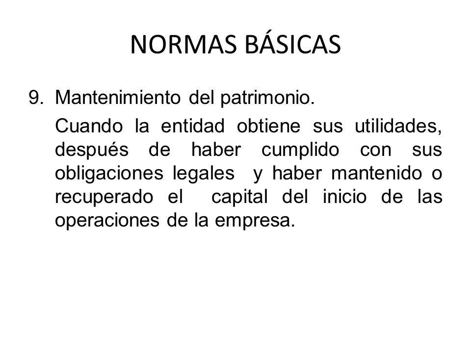 NORMAS BÁSICAS Mantenimiento del patrimonio.