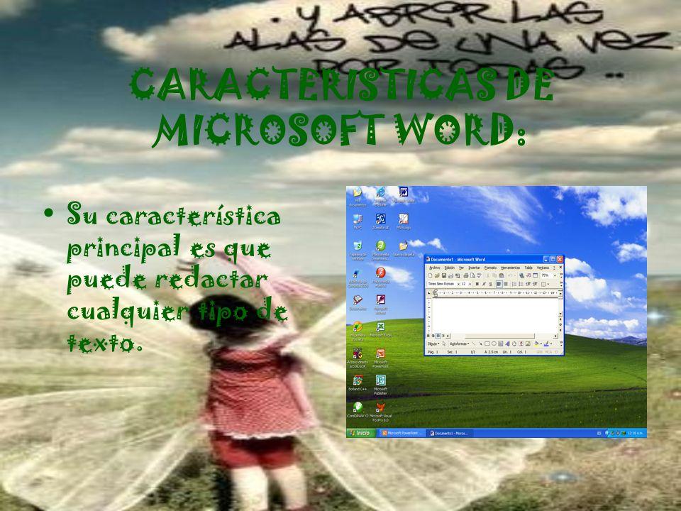 CARACTERISTICAS DE MICROSOFT WORD: