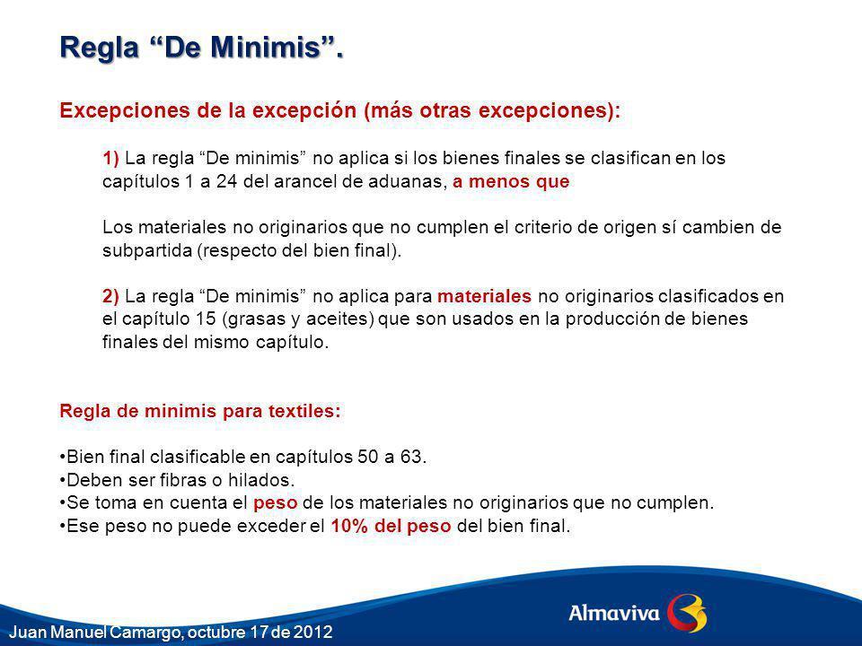 Regla De Minimis . Excepciones de la excepción (más otras excepciones):