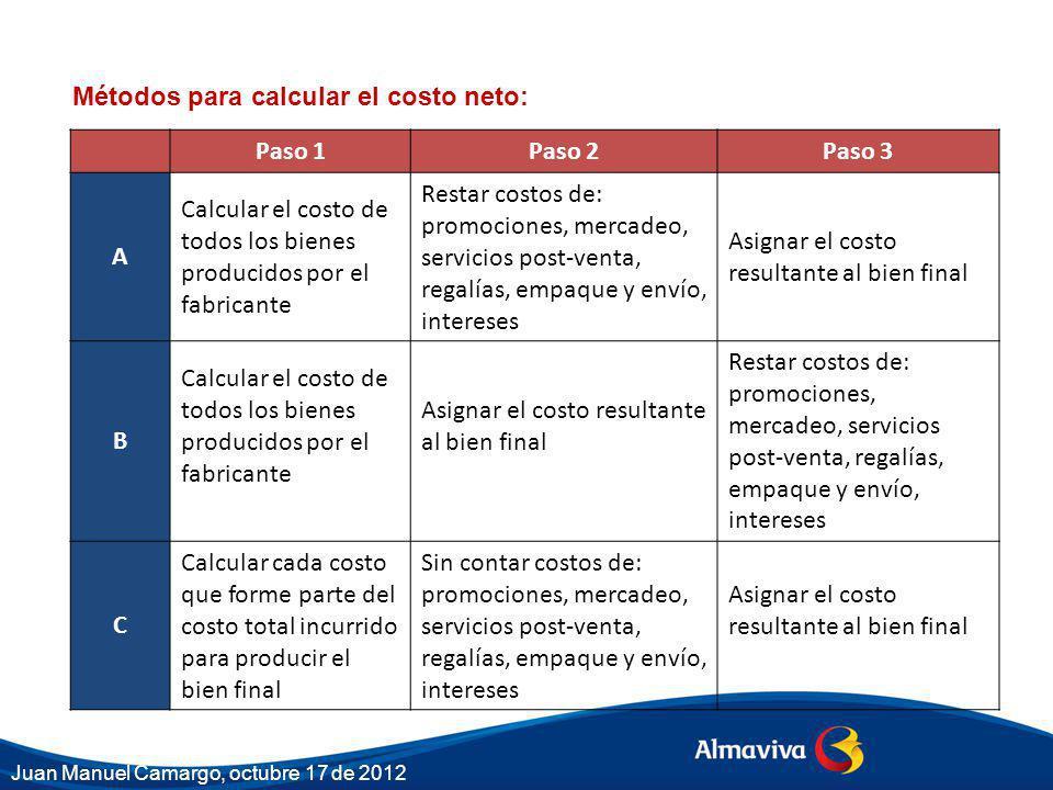 Métodos para calcular el costo neto: Paso 1 Paso 2 Paso 3 A