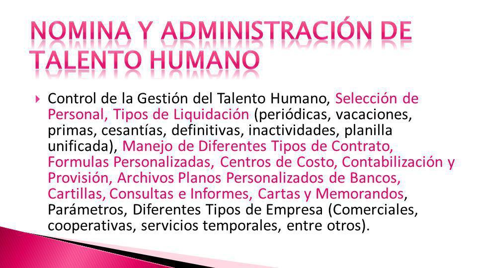 NOMINA Y ADMINISTRACIÓN DE TALENTO HUMANO