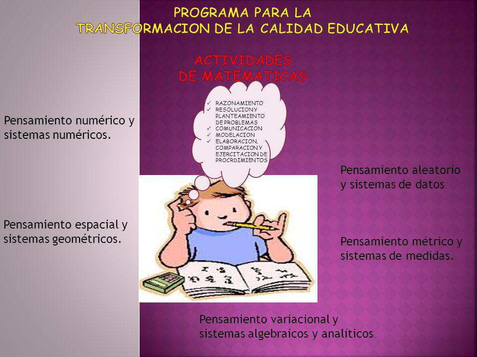 PROGRAMA PARA LA TRANSFORMACION DE LA CALIDAD EDUCATIVA ACTIVIDADES DE MATEMATICAS