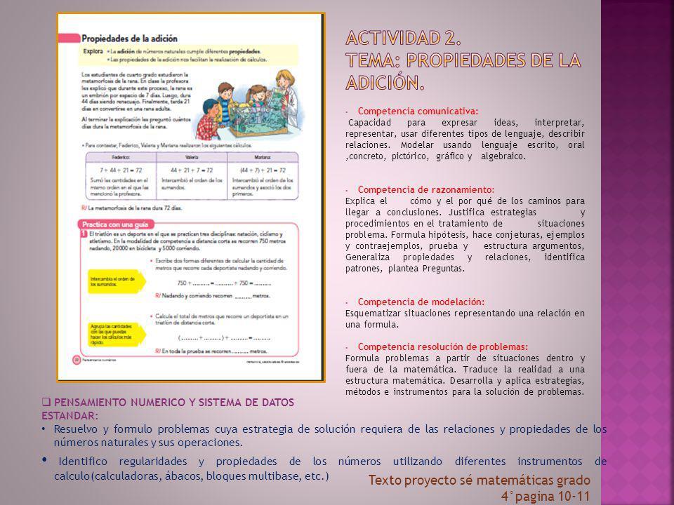Actividad 2. tema: propiedades de la adición.