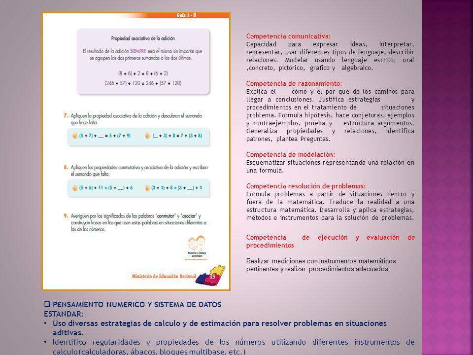 PENSAMIENTO NUMERICO Y SISTEMA DE DATOS ESTANDAR: