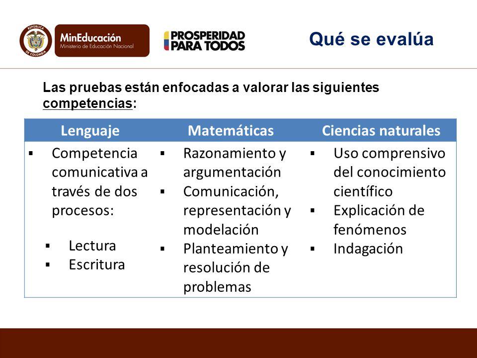 Qué se evalúa Lenguaje Matemáticas Ciencias naturales