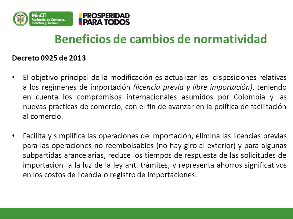 Beneficios de cambios de normatividad