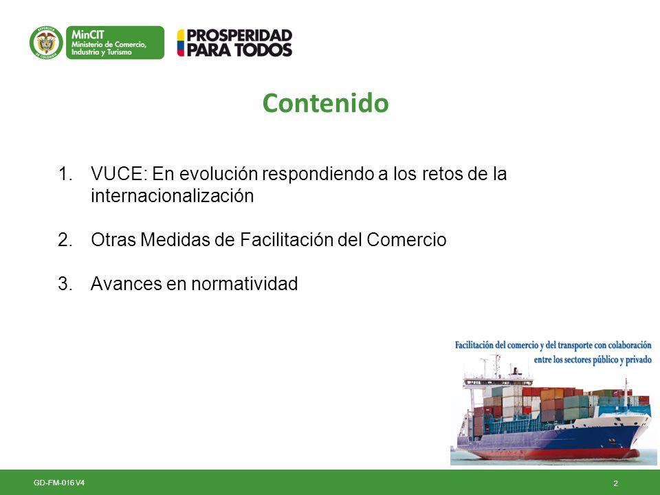 Contenido VUCE: En evolución respondiendo a los retos de la internacionalización. Otras Medidas de Facilitación del Comercio.