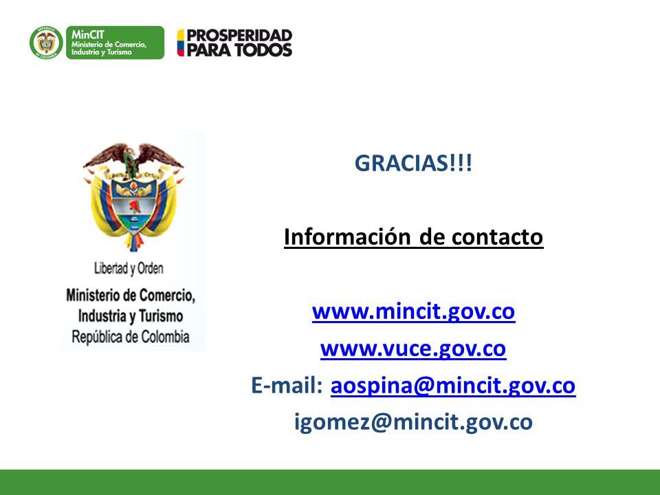 Información de contacto E-mail: aospina@mincit.gov.co