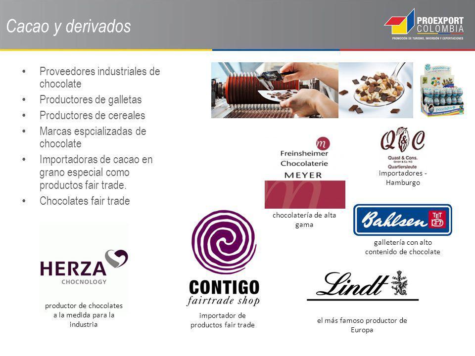 Cacao y derivados Proveedores industriales de chocolate
