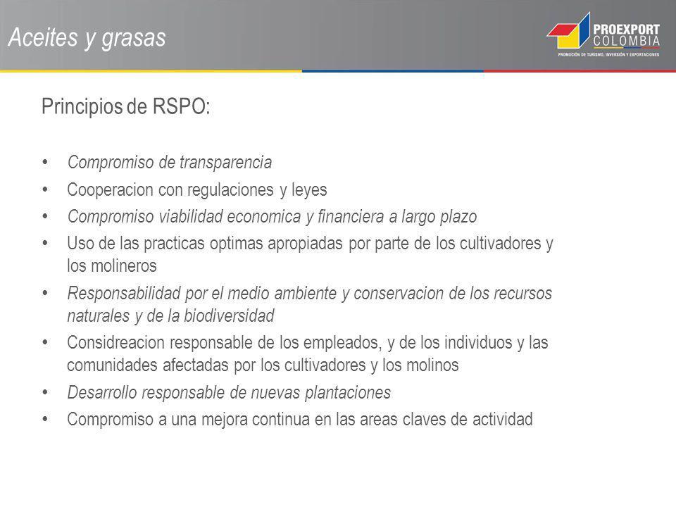 Aceites y grasas Principios de RSPO: Compromiso de transparencia