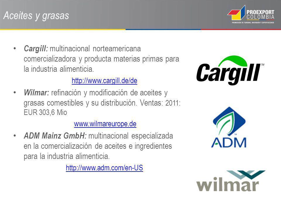 Aceites y grasas Cargill: multinacional norteamericana comercializadora y producta materias primas para la industria alimenticia.