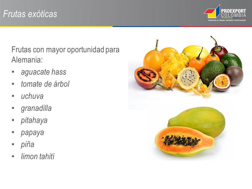 Frutas exóticas Frutas con mayor oportunidad para Alemania: