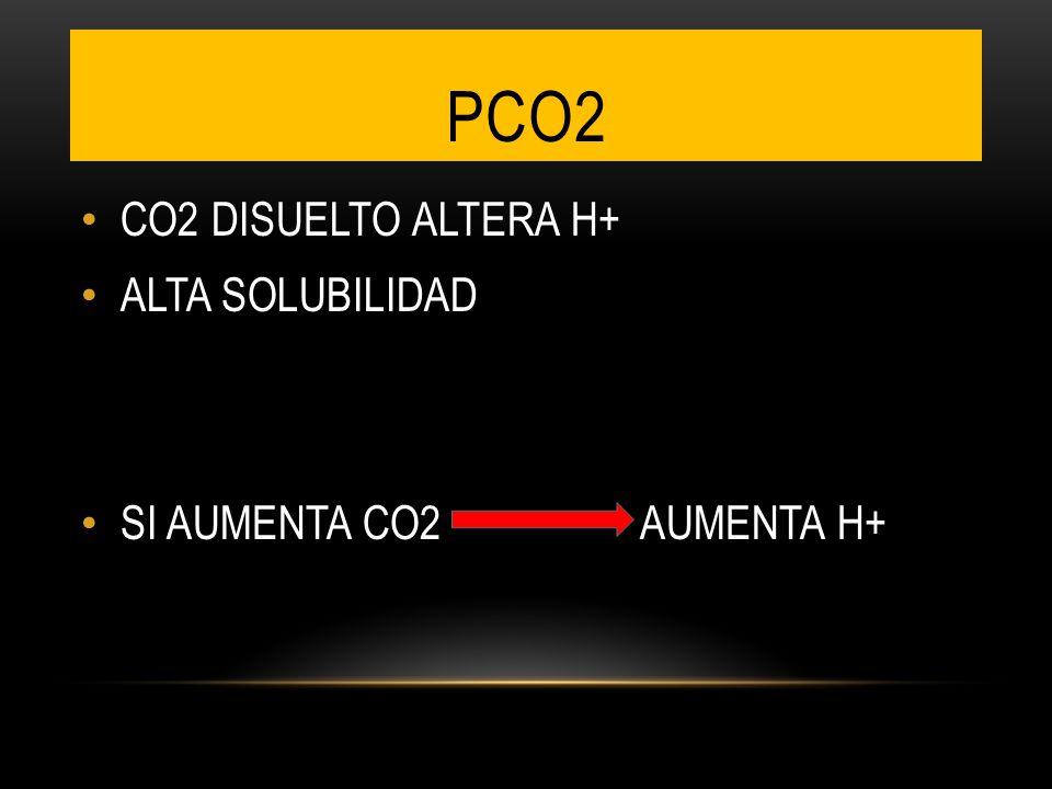 PCO2 CO2 DISUELTO ALTERA H+ ALTA SOLUBILIDAD SI AUMENTA CO2 AUMENTA H+