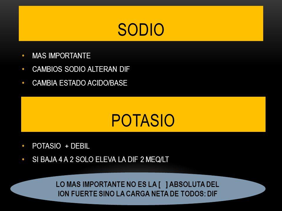 SODIO POTASIO MAS IMPORTANTE CAMBIOS SODIO ALTERAN DIF