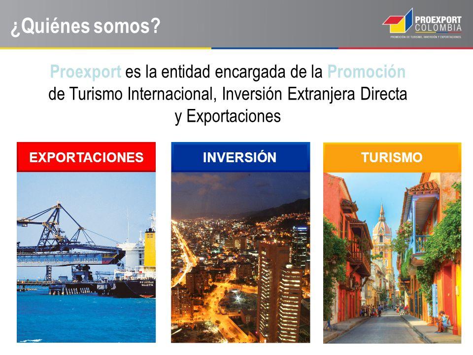 ¿Quiénes somos Proexport es la entidad encargada de la Promoción de Turismo Internacional, Inversión Extranjera Directa y Exportaciones.