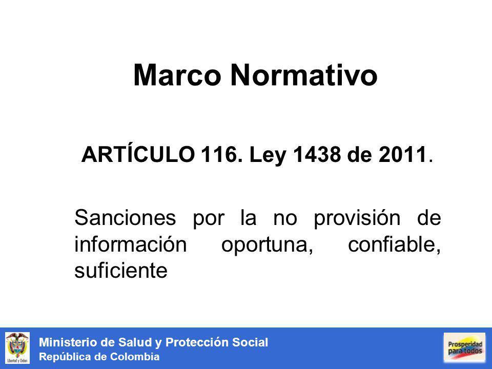 Marco Normativo ARTÍCULO 116. Ley 1438 de 2011.