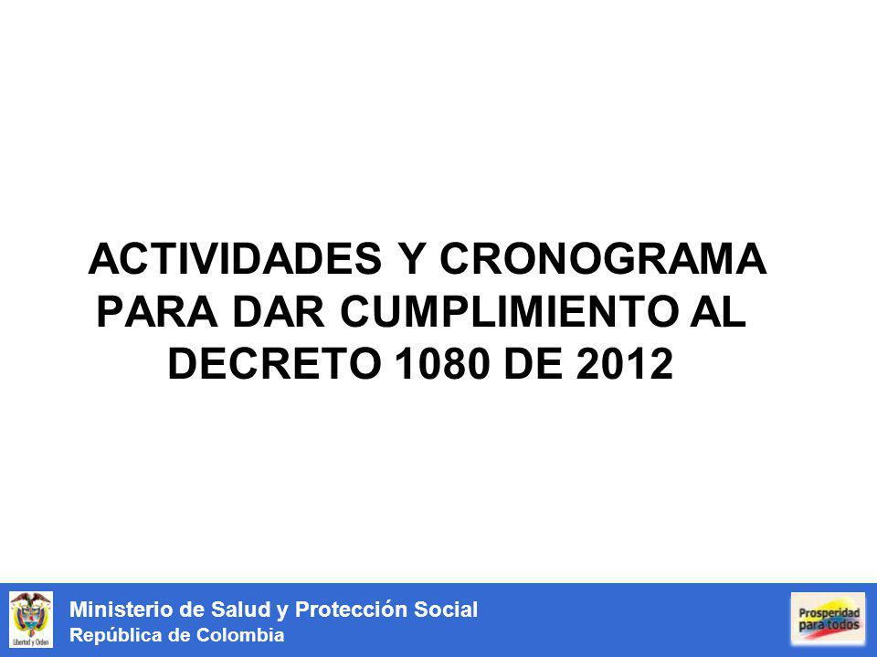 ACTIVIDADES Y CRONOGRAMA PARA DAR CUMPLIMIENTO AL DECRETO 1080 DE 2012