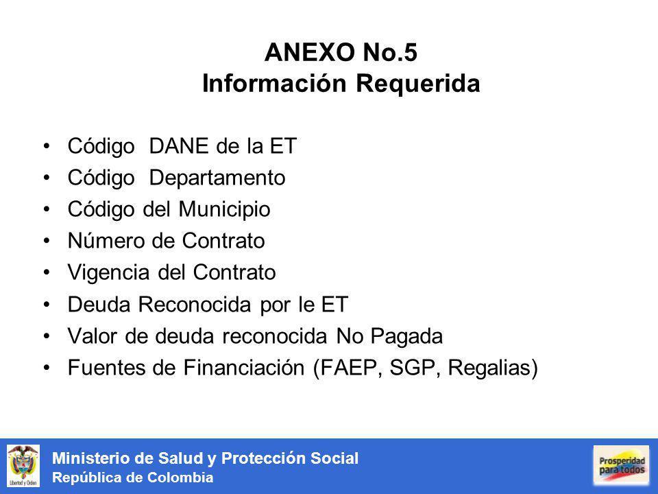 ANEXO No.5 Información Requerida