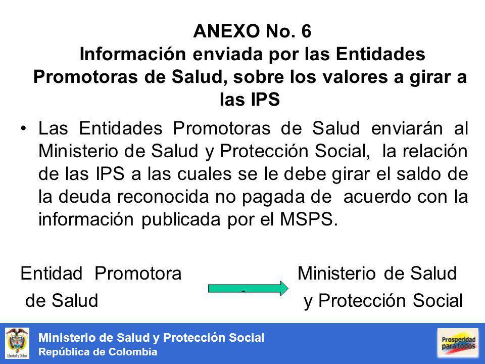ANEXO No. 6 Información enviada por las Entidades Promotoras de Salud, sobre los valores a girar a las IPS