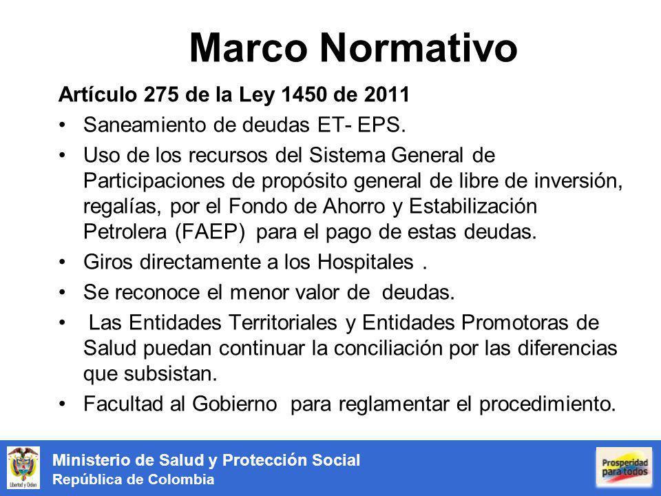 Marco Normativo Artículo 275 de la Ley 1450 de 2011