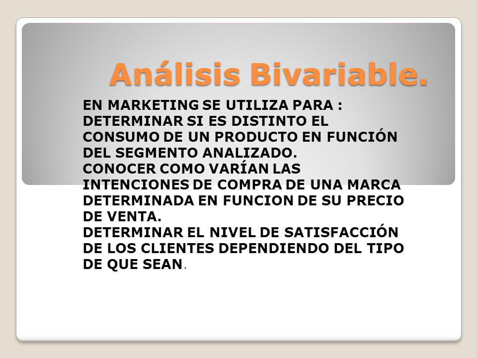 Análisis Bivariable. EN MARKETING SE UTILIZA PARA :