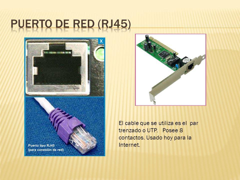 PUERTO de red (RJ45) El cable que se utiliza es el par trenzado o UTP.