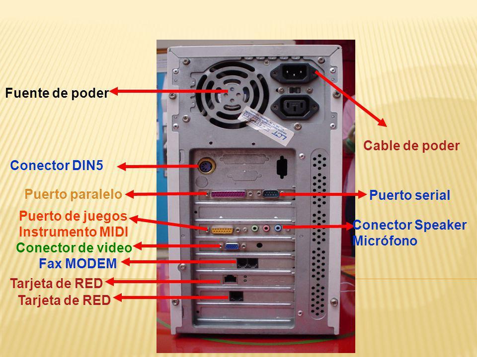 Fuente de poder Cable de poder. Conector DIN5. Puerto paralelo. Puerto serial. Puerto de juegos.