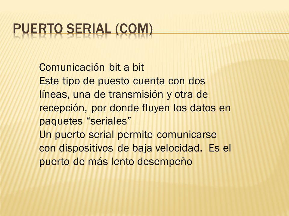 PUERTO SERIAL (COM) Comunicación bit a bit