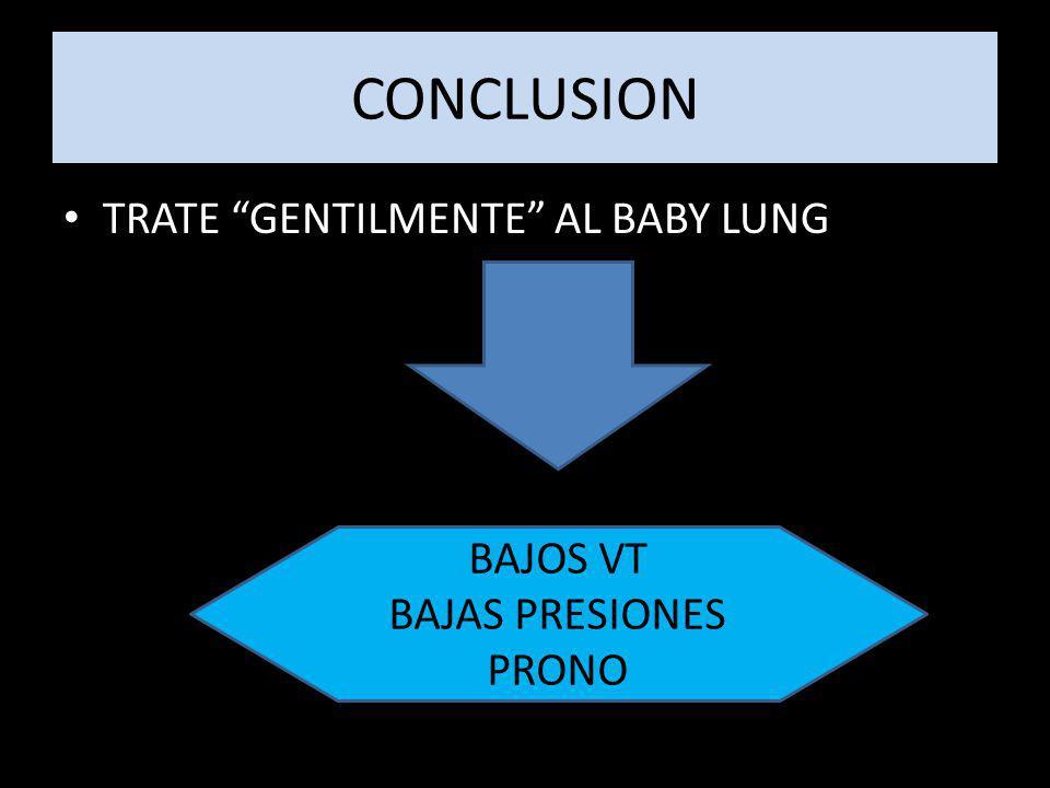 CONCLUSION TRATE GENTILMENTE AL BABY LUNG BAJOS VT BAJAS PRESIONES