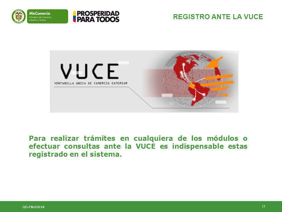 REGISTRO ANTE LA VUCE