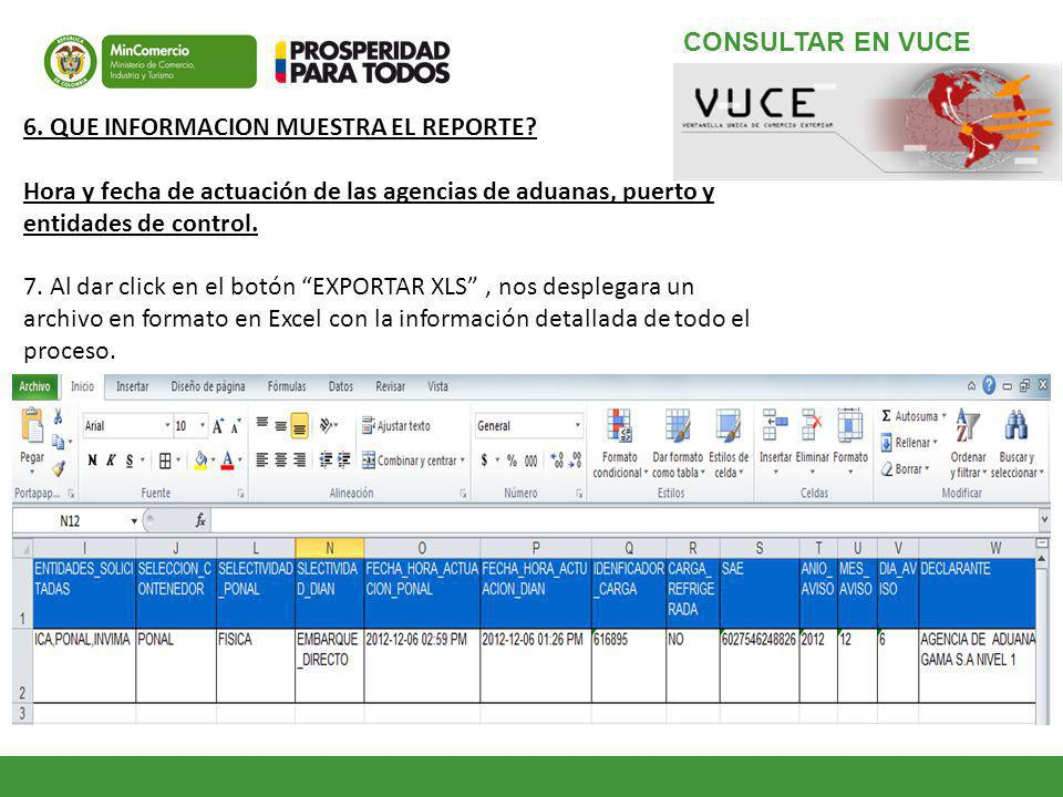CONSULTAR EN VUCE 6. QUE INFORMACION MUESTRA EL REPORTE Hora y fecha de actuación de las agencias de aduanas, puerto y entidades de control.