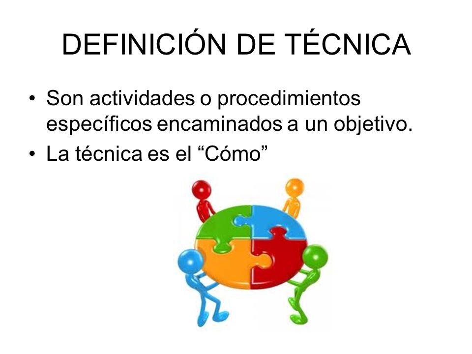 DEFINICIÓN DE TÉCNICASon actividades o procedimientos específicos encaminados a un objetivo.