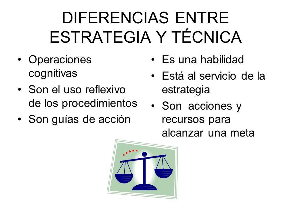 DIFERENCIAS ENTRE ESTRATEGIA Y TÉCNICA
