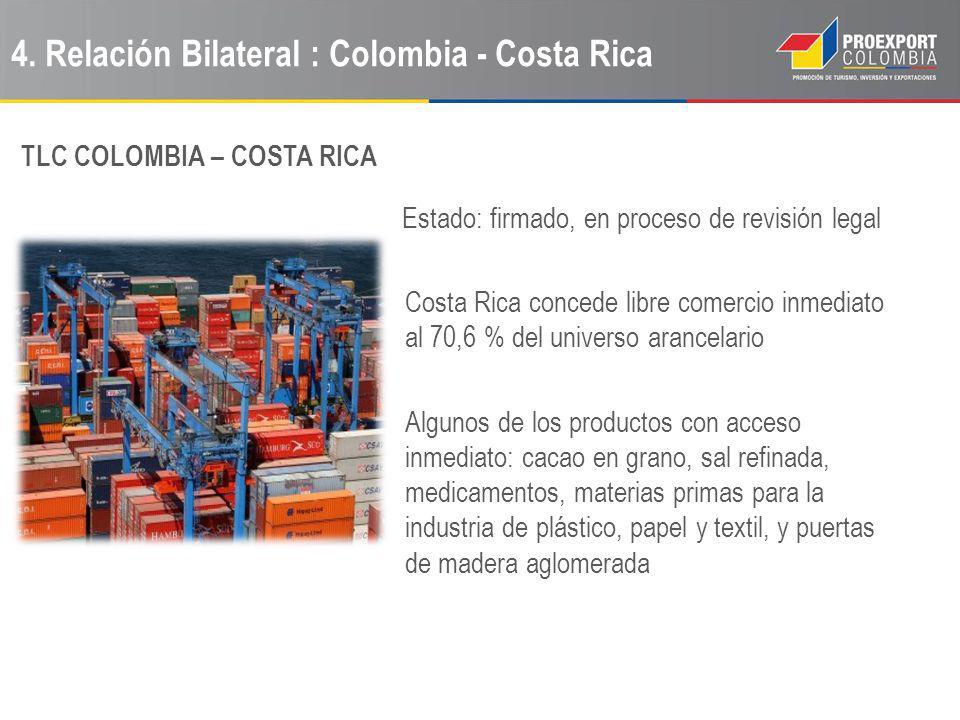 4. Relación Bilateral : Colombia - Costa Rica