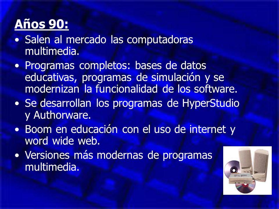 Años 90: Salen al mercado las computadoras multimedia.