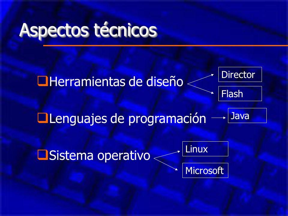 Aspectos técnicos Herramientas de diseño Lenguajes de programación