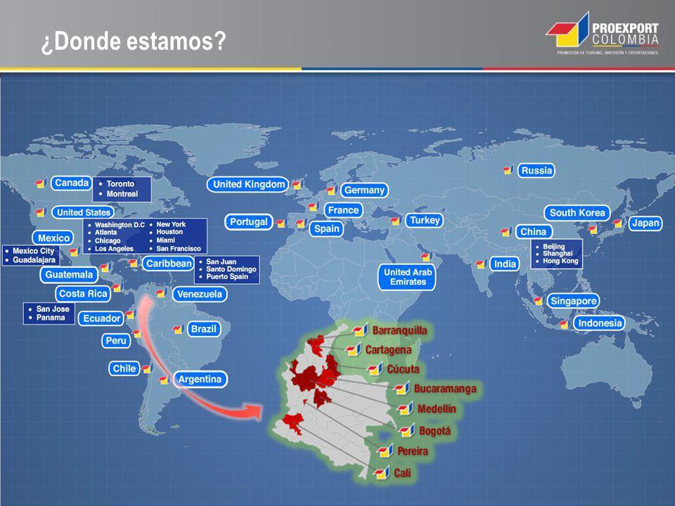 ¿Donde estamos RESALTAR: 28 OFICINAS EN EL EXTERIOR, 8 EN COLOMBIA