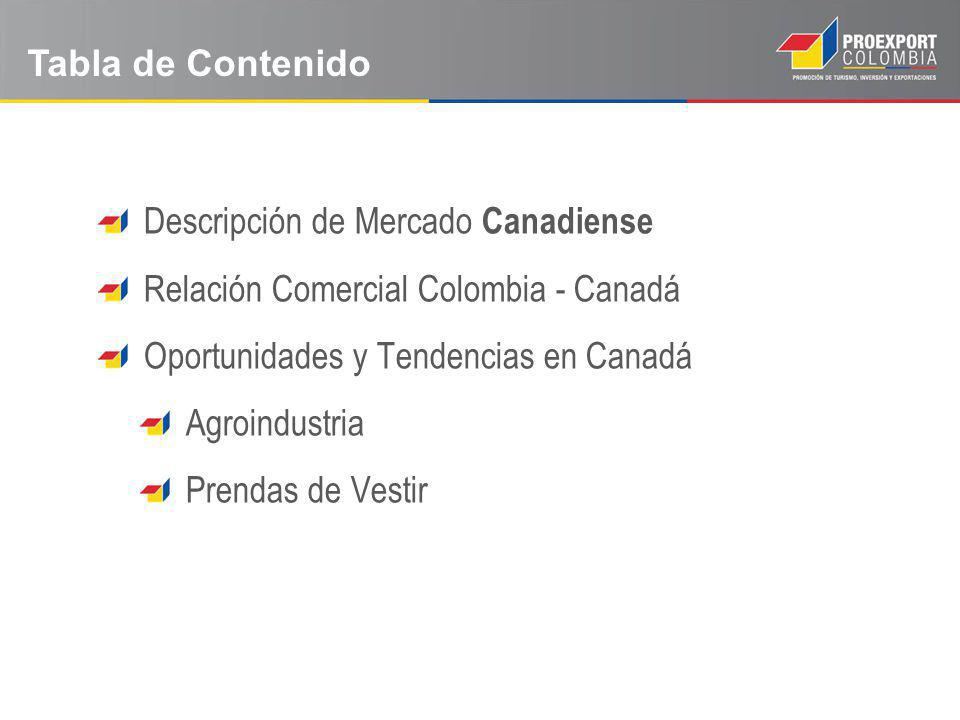 Tabla de Contenido Descripción de Mercado Canadiense. Relación Comercial Colombia - Canadá. Oportunidades y Tendencias en Canadá.