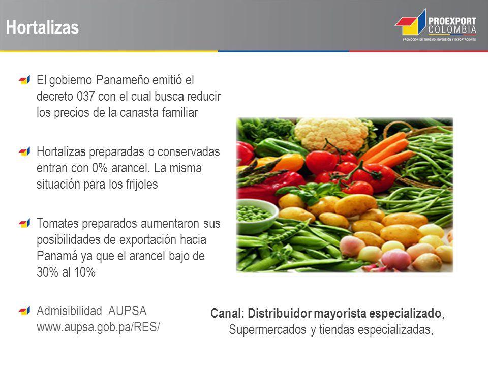Hortalizas El gobierno Panameño emitió el decreto 037 con el cual busca reducir los precios de la canasta familiar.