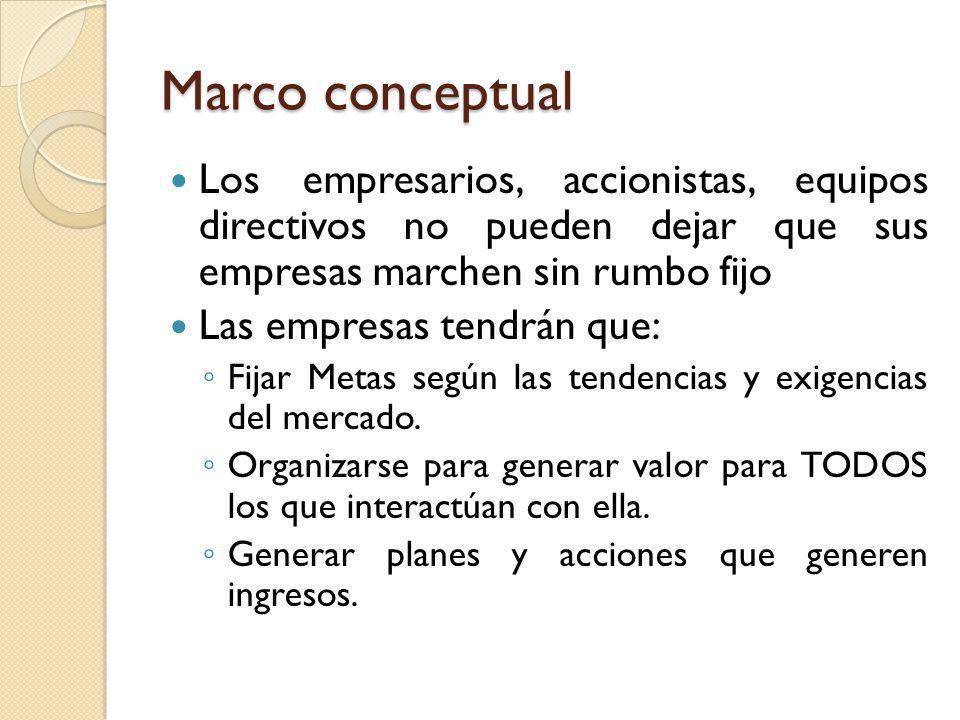 Marco conceptual Los empresarios, accionistas, equipos directivos no pueden dejar que sus empresas marchen sin rumbo fijo.