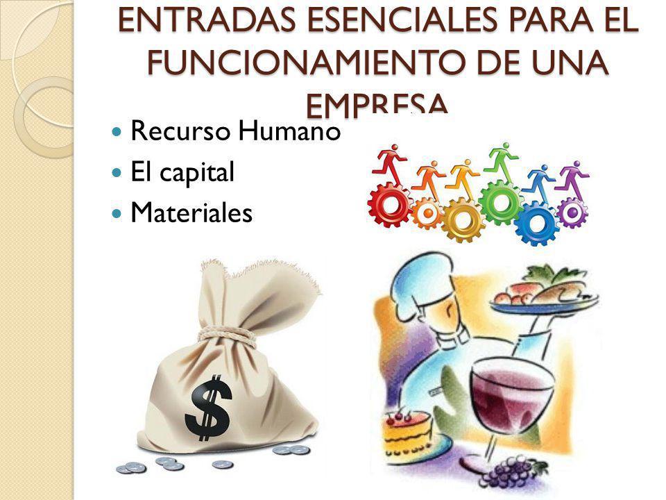 ENTRADAS ESENCIALES PARA EL FUNCIONAMIENTO DE UNA EMPRESA