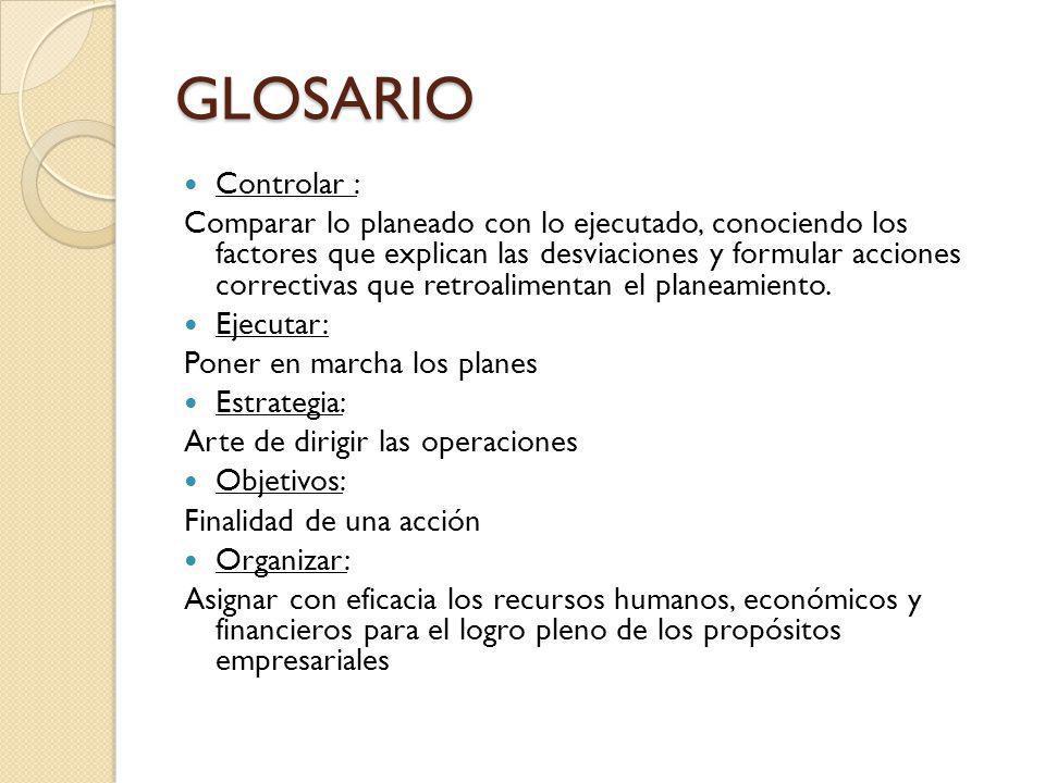 GLOSARIO Controlar :
