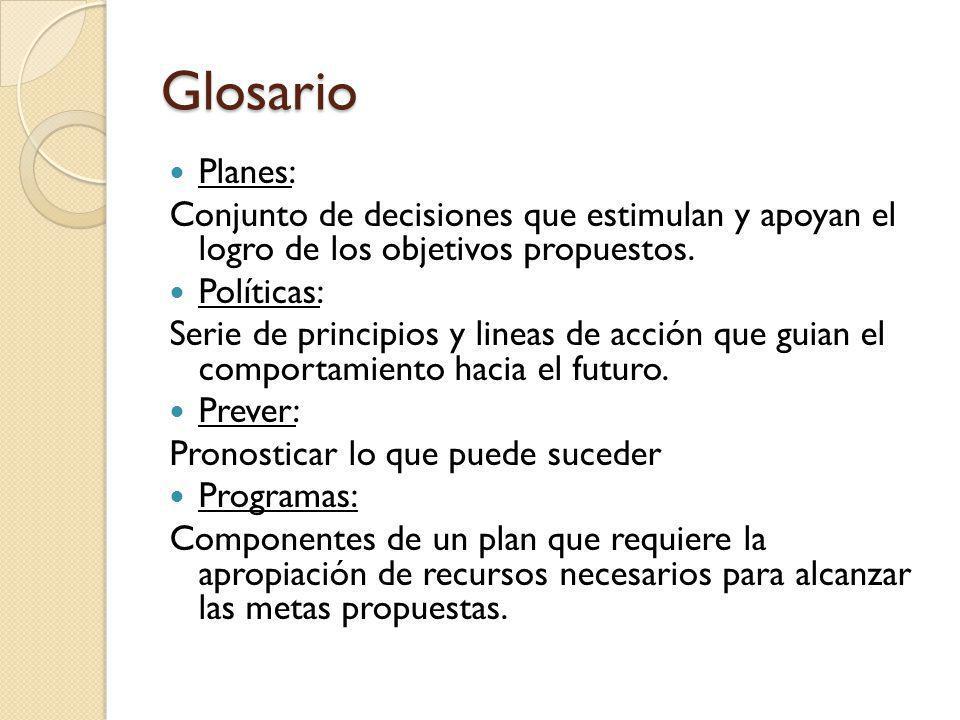 Glosario Planes: Conjunto de decisiones que estimulan y apoyan el logro de los objetivos propuestos.