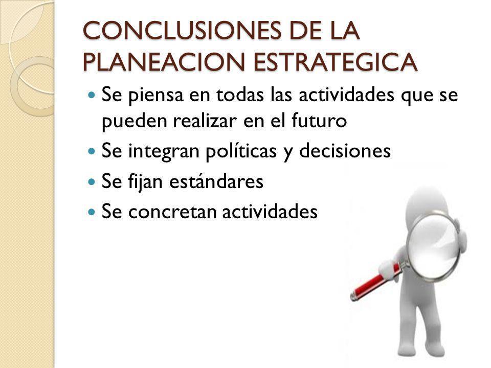 CONCLUSIONES DE LA PLANEACION ESTRATEGICA