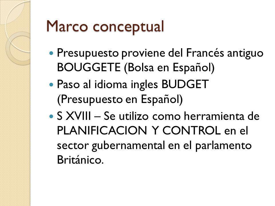 Marco conceptual Presupuesto proviene del Francés antiguo BOUGGETE (Bolsa en Español) Paso al idioma ingles BUDGET (Presupuesto en Español)